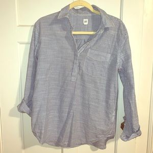 Gap Blue and White Striped Linen Tunic